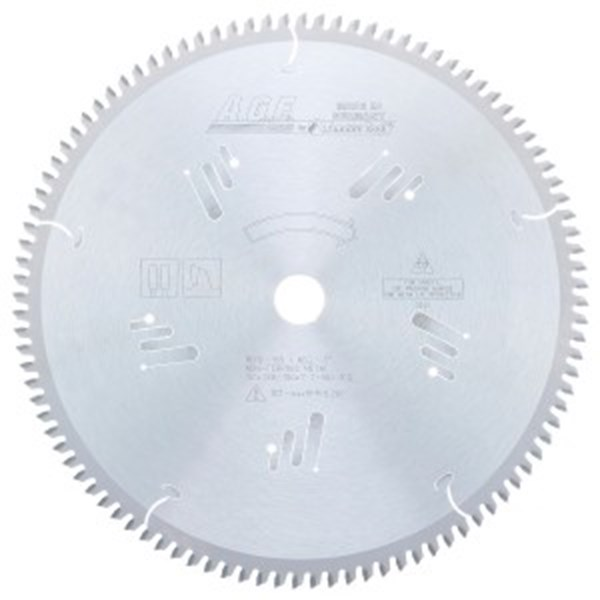 CARBIDE TIPPED THIN WALLED ALUMINUM AN NON-FERROUS METALS 12 INCH DIA x 100T TCG, -5 DEG, 1 INCH BORE CIRCULAR SAW BLADE